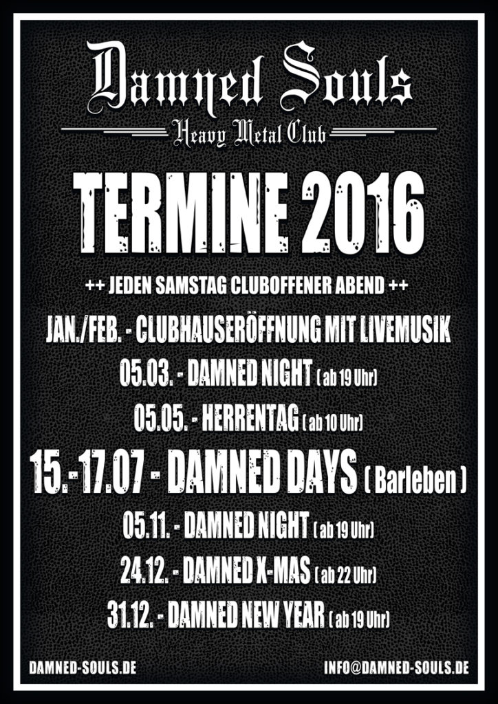 Damned Souls Termine 2016