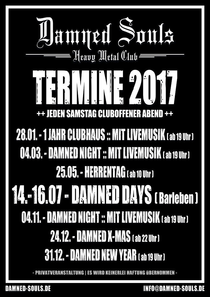 Damned Souls - Termine 2017