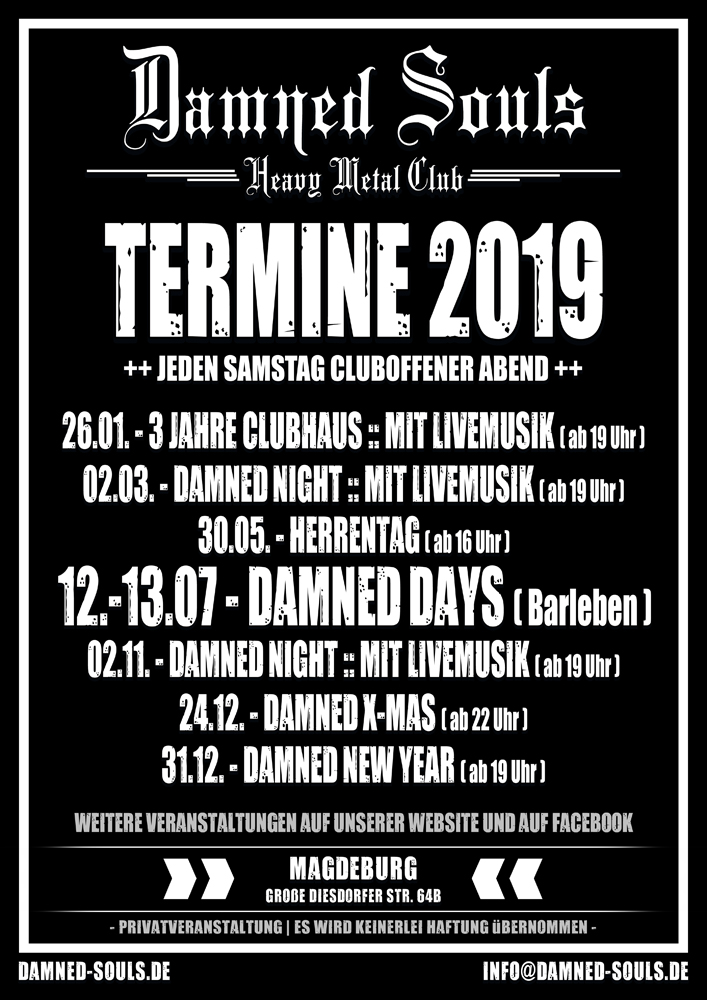 Damned Souls - Termine 2019
