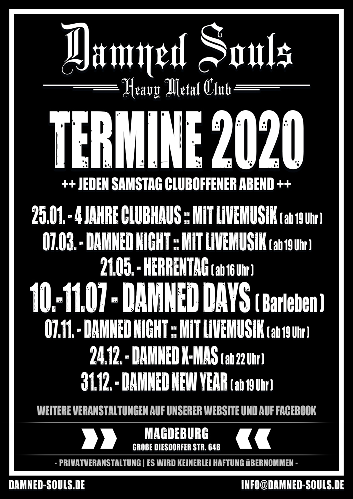 Damned Souls - Termine 2020