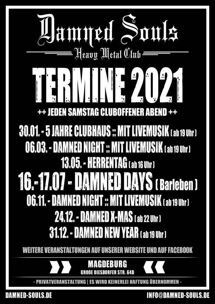 Damned Souls - Termine 2021